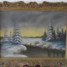 Tablou-Pictura pe panza-Peisaj de iarna-autor necunoscut - Tablou autor neidentificat
