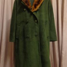 Palton Persona by Max Mara cu guler blana naturala - Palton dama Max Mara, Marime: L/XL, Culoare: Verde