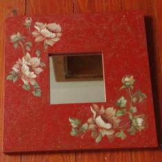 Mobilier - Oglinda cu rama din lemn - pictat manual - motiv floral !!!!