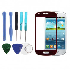Display LCD - Sticla Display Fata Samsung Galaxy S3 MINI i8190 ROSU + folie protectie ecran + expediere gratuita