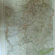Harta color Germania Hessen - Nassau Marele Ducat Hessen si Principatul Waldeck Leipzig 1899 - Harta Germaniei