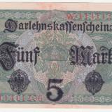 Bancnota Straine, Europa - (3) BANCNOTA GERMANIA - 5 MARK 1917 (1 AUGUST 1917) - STARE aUNC