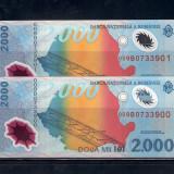 2 BANCNOTE 2 000 LEI 1999 (ECLIPSA), POLIMER, NECIRCULATE - SERII CONSECUTIVE