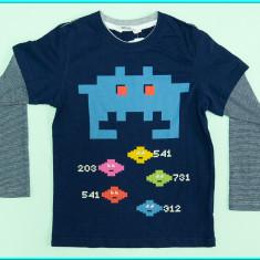 NOUA, DE FIRMA _ Bluza cu efect tricou, bumbac H&M _ baieti | 4 - 6 ani | 116 cm, Culoare: Bleumarin