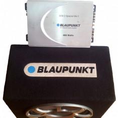 (Super Oferta) Sistem audio auto: Subwoofer Blaupunkt + Amplificator Blaupunkt + Radio Mp3 Player Elta + Cabluri - Subwoofer auto