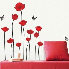 Sticker - autocolant decorativ de perete model flori de mac si fluturi