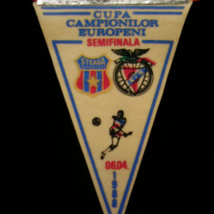 Fanion fotbal - PENTRU UN FAN STEAUA BUCURESTI - FANION - STEAUA BUCURESTI - BENFICA LISABONA - CUPA CAMPIONILOR EUROPENI - 06 APRILIE 1988