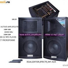 SUPER SISTEM 2 BOXE ACTIVE/AMPLIFICATE CU MIXER INCLUS, MP3 PLAYER, BASSI 12 toli, 500WATT, EFECTE VOCE+2 MICROFOANE wireless!