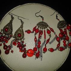 Cercei lungi rosii-candelabru - Cercei Fashion