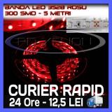 ROLA BANDA 300 LED - LEDURI SMD 3528 ROSU (ROSIE, ROSI) - 5 METRI, IMPERMEABILA (WATERPROOF), FLEXIBILA ZDM