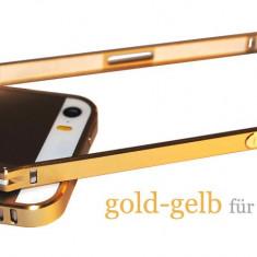 Bumper auriu din aluminiu pentru iphone 5 + folie ecran cadou - Bumper Telefon, iPhone 5/5S