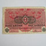 Bancnota Straine, Europa, An: 1918 - BBS1 - AUSTROUNGARIA - 1 KOROANA - 1918