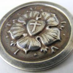 Brosa insigna decoratie veche din argint - de colectie - Brosa argint