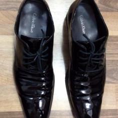 Pantofi Calvin Klein, piele naturala lacuita - Pantofi barbati Calvin Klein, Marime: 41.5, Culoare: Negru
