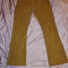 Pantaloni din piele intoarsa, Conbipel - Pantaloni dama, Marime: 46, Culoare: Bej, Lungi