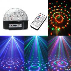 Laser lumini club - Glob disco USB jocuri lumini difuzoare audio Lumini 6 Culori telecomanda stick