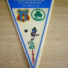 Fanion fotbal - PENTRU UN FAN STEAUA - STEAUA BUCURESTI - OMONIA NICOSIA - CCE - 21 10 1987