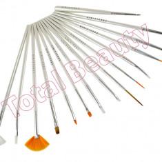 Set 15 Pensule Manichiura Unghii False - Alb Pensule modele unghii cu gel acryl
