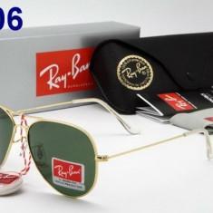 Ochelari de Soare Casual RayBan Ray Ban Model 3026 Mirror Green LENS Silver Gold - Ochelari de soare Ray Ban, Unisex, Negru, Pilot, Metal, Protectie UV 100%