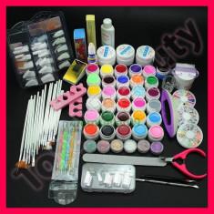 Kit unghii false cu gel UV de constructie 30 geluri colorate tipsuri pensule