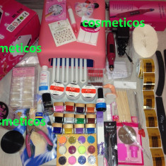 Kit set manichiura Unghii false Sina- lampa UV, pila, geluri ccn, tipsuri - KIT BEST