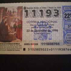 BILET LOTERIE - LOTERIA NACIONAL - SPANIA - 22. 12. 1998 - FOLOSIT .