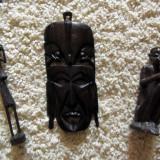 Arta decorativa africana 3 piese: masca si 2 statuete din lemn de abanos