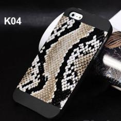 Husa plastic Lux MOTOMO animal print iphone 5 + folie protectie ecran - Husa Telefon Apple, Negru