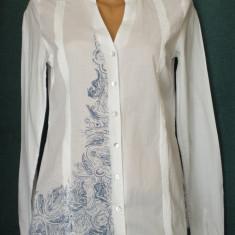 Camasa alba cu imprimeu bleu, model deosebit - Camasa dama Esprit, Marime: M, Culoare: Din imagine, Maneca scurta, Poliester
