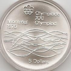 Canada 5 Dolari 1975 - Swimming, Argint 24.3g/925, KM-100 UNC !!!, America de Nord, An: 1995