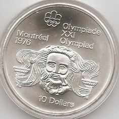 Canada 10 Dolari 1974 -Head of Zeus, Argint 48.6g/925, KM-93 UNC !!!, America de Nord, An: 1974