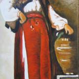 Fata cu ulciorul semnat Cimpoesu dupa Grigorescu - Tablou pictori romani, Portrete, Ulei, Realism