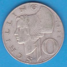 (1) MONEDA DIN ARGINT AUSTRIA - 10 SCHILLING 1958, 7, 5 GRAME, Europa, An: 1958