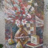 Tablou, Natura statica, Ulei, Impresionism - Natura statica - flori in vaza si pere, ulei pe panza
