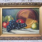 Natura statica, fructe, struguri si mere, ulei pe carton, tablou vechi, Peisaje, Impresionism