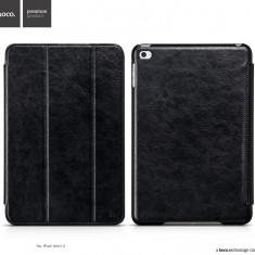 Husa / toc LUX piele fina HOCO Crystal, iPad MINI 4, smart cover, pe NEGRU - Husa Tableta