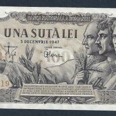 ROMANIA 100 LEI 1947 5 DECEMBRIE [1] XF+++ a UNC, filigran BNR