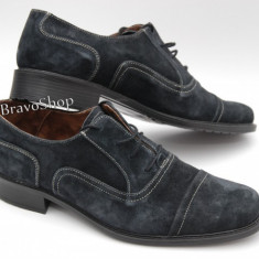 Pantofi barbati piele naturala (Intoarsa) casual-eleganti / Pantofi piele intoarsa Bleumarin inchis Made in Romania