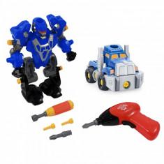 Vehicul - Robot 3 in 1 cu TIR si bormasina electrica - Super jucarie creativa (28 cm inaltime)