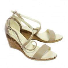 Sandale dama cu platforma din piele naturala Bej - Made in Romania