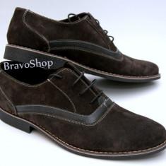Pantofi barbati maro din piele intoarsa cu suvite casual & eleganti