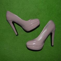 Pantofi dama - Pantofi de dama de gala, nude, Aotoria, marime 37, toc subtire de 12cm inaltime