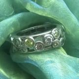 Inel argint 925 cu pietre semipretioase:peridot, ametist citrin D=16.2mm