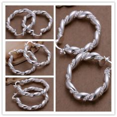 Cercei superbi argint 925, model cu impletituri + cutie cadou; 3.4 cm diametru - Cercei argint