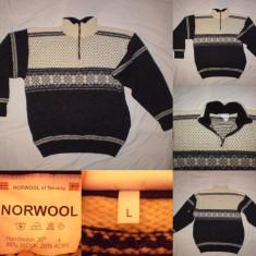 Pulover barbati - Pulovar lana NORWOOL of NOWAY (L) Bluza Cardigan Barbati munte tura ski iarna