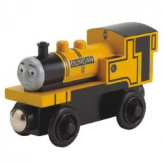 Trenulet de jucarie Fisher Price, 4-6 ani, Lemn, Baiat - Locomotiva Duncan, colectia Thomas si prietenii sai, Fisher Price