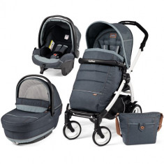 Carucior 3 in 1 Book Plus 51 Black White Completo SL Blue Denim - Carucior copii 2 in 1 Peg Perego