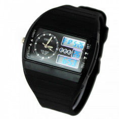 NOU-Superb Ceas militar/sport Dual Display rezistent la Apa, Timer, etc - Ceas barbatesc, Quartz, Cauciuc, Analog & digital