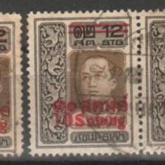 SIAM (Thailanda) - 1914, SCOTT 157, 158, 159, circulate, MH, Nestampilat