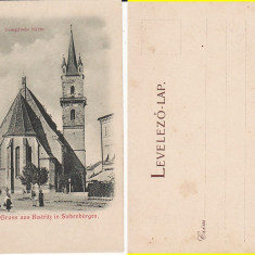 Bistrita - Nasaud - Biserica- clasica, rara - Carte Postala Transilvania pana la 1904, Circulata, Printata